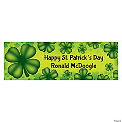 Personalized Small St. Patrick's Day Four Leaf Clover Banner