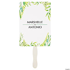 Personalized Spring Greenery Favor Fans