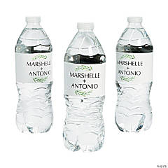 Personalized Spring Greenery Water Bottle Labels