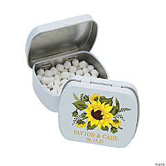 Personalized Sunflower Wedding Mint Tins