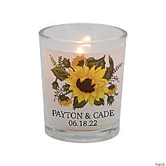 Personalized Sunflower Wedding Votive Candle Holders