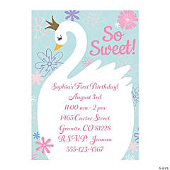 Personalized Sweet Swan Baby Shower Invitations
