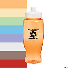 Personalized Transparent Paw Print Water Bottles - 27 oz.