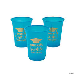 Personalized Turquoise Graduation Plastic Cups - 40 Ct.