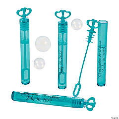 Personalized Turquoise Heart Bubble Tubes