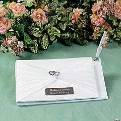 Personalized Two Hearts Wedding Guest Book And Pen Set