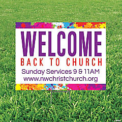 Personalized Welcome Back to Church Yard Sign