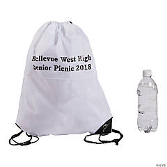 Personalized White Drawstring Backpacks