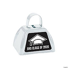 Personalized White Graduation Cowbells