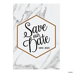 Personalized White Marble Save-the-Date Cards