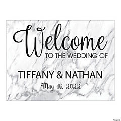 Personalized White Marble Welcome Sign