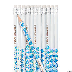 Personalized Wooden Snowflake Pencils - 24 Pc.
