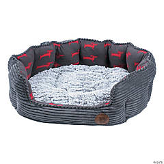 Petface Small Jumbo Cord & Grey Bamboo Deli Bed-