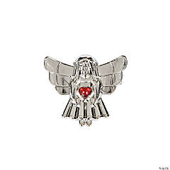 Pewtertone Angel with Gemstone Heart Pins