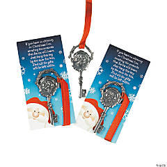 Pewtertone Metal Keys For Santa with Card