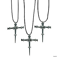 Pewtertone Metal Nail Cross Necklaces
