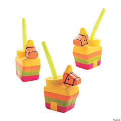 Piñata Donkey Cups with Straws