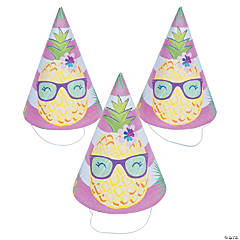 Pineapple 'n Friends Party Cone Hats - 8 Pc.