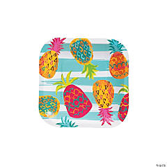Pineapple Square Paper Dessert Plates - 8 Ct.