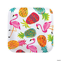 Pineapple Square Paper Dinner Plates - 8 Ct.