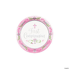 Pink 1st Communion Dessert Plates