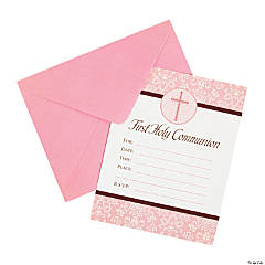 Pink 1st Communion Invitations