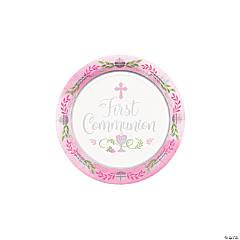 Pink 1st Communion Paper Dessert Plates - 18 Ct.