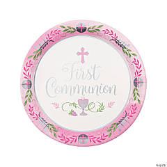 Pink 1st Communion Paper Dinner Plates - 18 Ct.
