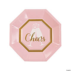 Pink & White Cheers Paper Dinner Plates - 8 Ct.