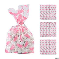 Pink Baby Footprint Cellophane Bags