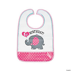 Pink Elephant 1st Birthday Bib