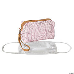 Pink Face Cover Storage Case with Faux Leather Trim