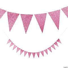 Pink Glitter Pennant Banner