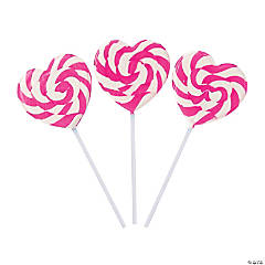 Pink Heart-Shaped Swirl Lollipops