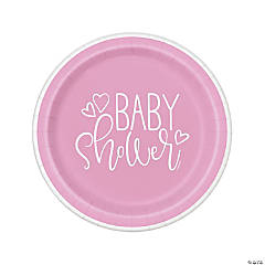 Pink Hearts Baby Shower Dinner Plates