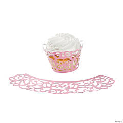 Pink Laser-Cut Cupcake Wrappers