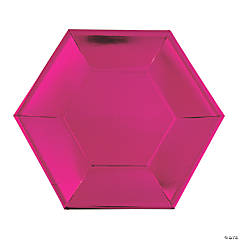 Pink Metallic Hexagonal Dinner Plates