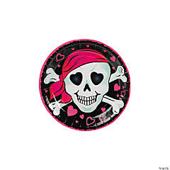Pink Pirate Girl Paper Dessert Plates - 8 Ct.