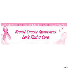 Pink Ribbon Breast Cancer Awareness Custom Banner - Medium
