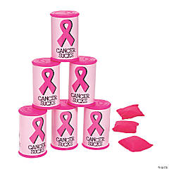 Pink Ribbon Can Bean Bag Toss Game