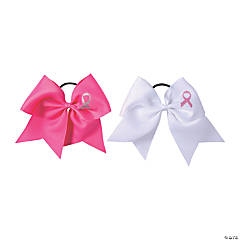 Pink Ribbon Cheer Hair Bows