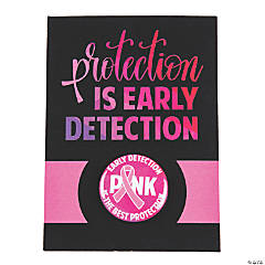 Pink Ribbon Early Detection Mini Buttons with Card