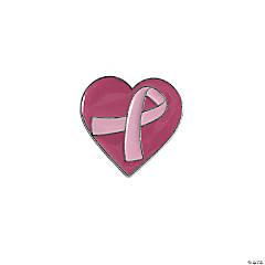 Pink Ribbon Heart Pins