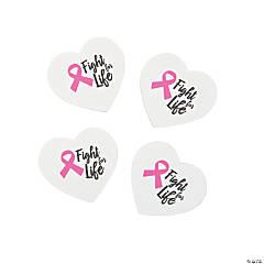 Pink Ribbon Heart-Shaped Erasers - 24 Pc.
