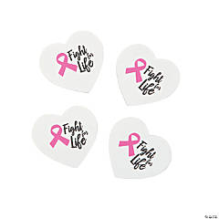 Pink Ribbon Heart-Shaped Erasers