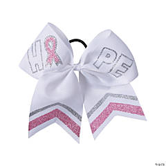 Pink Ribbon Hope Glitter Cheer Bows