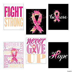 Pink Ribbon Inspirational Poster Set