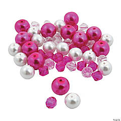 Pink Ribbon Pearl & Crystal Bead Assortment
