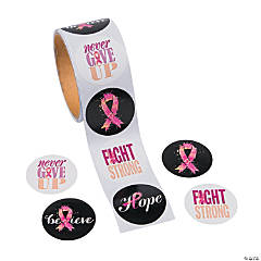 Pink Ribbon Sayings Sticker Rolls