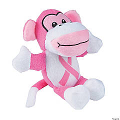 Pink Ribbon Stuffed Monkeys